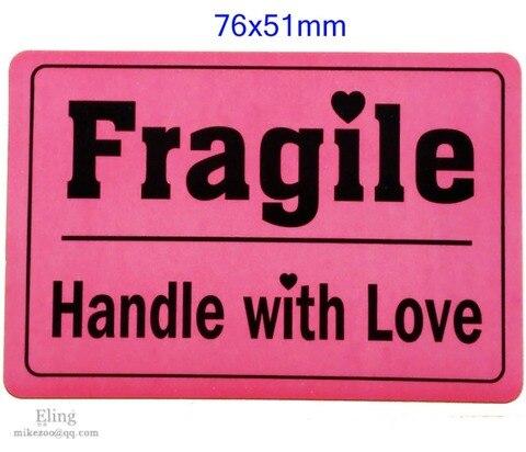 200 pcs lote 76x51mm punho fragiloso com adesivo do rotulo do envio do amor design