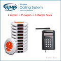 Popular Used in Food Court Restaurant Cafe Table Buzzer Calling System (1 Keypad + 25 Coaster Buzzers + 3 Charger Bases)