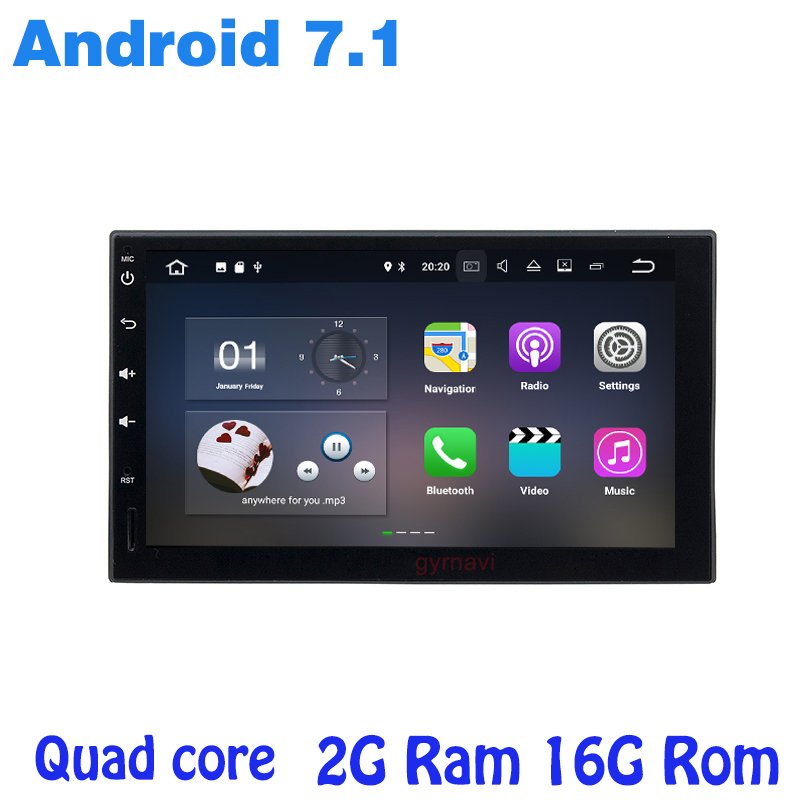2G RAM Quad core Android 7.1 two din universal Car gps radio player car pc table no dvd wifi 4G BT mirror link auto Stereo
