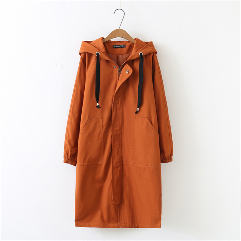 Oversized 2019 Spring Autumn Women's Windbreaker Hooded Coats Loose Plus Size Outerwear Casual Female Long   Trench   Coat 4XL N685