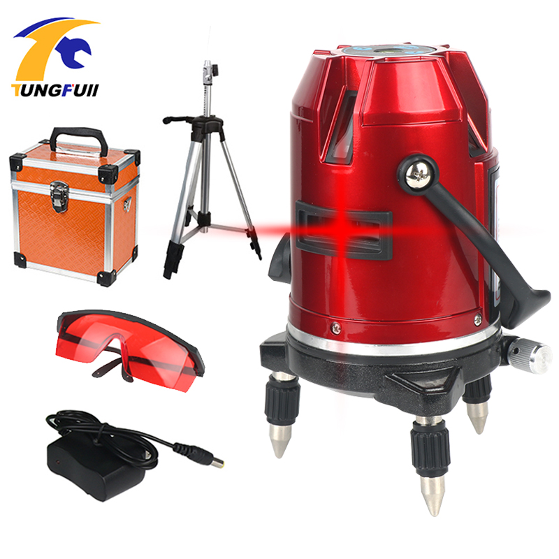 Tungfull Laser Level 360 Degree Cross Line Rotary Level Measuring Instruments 5 Lines 6 Points Construction Tools With Tripod