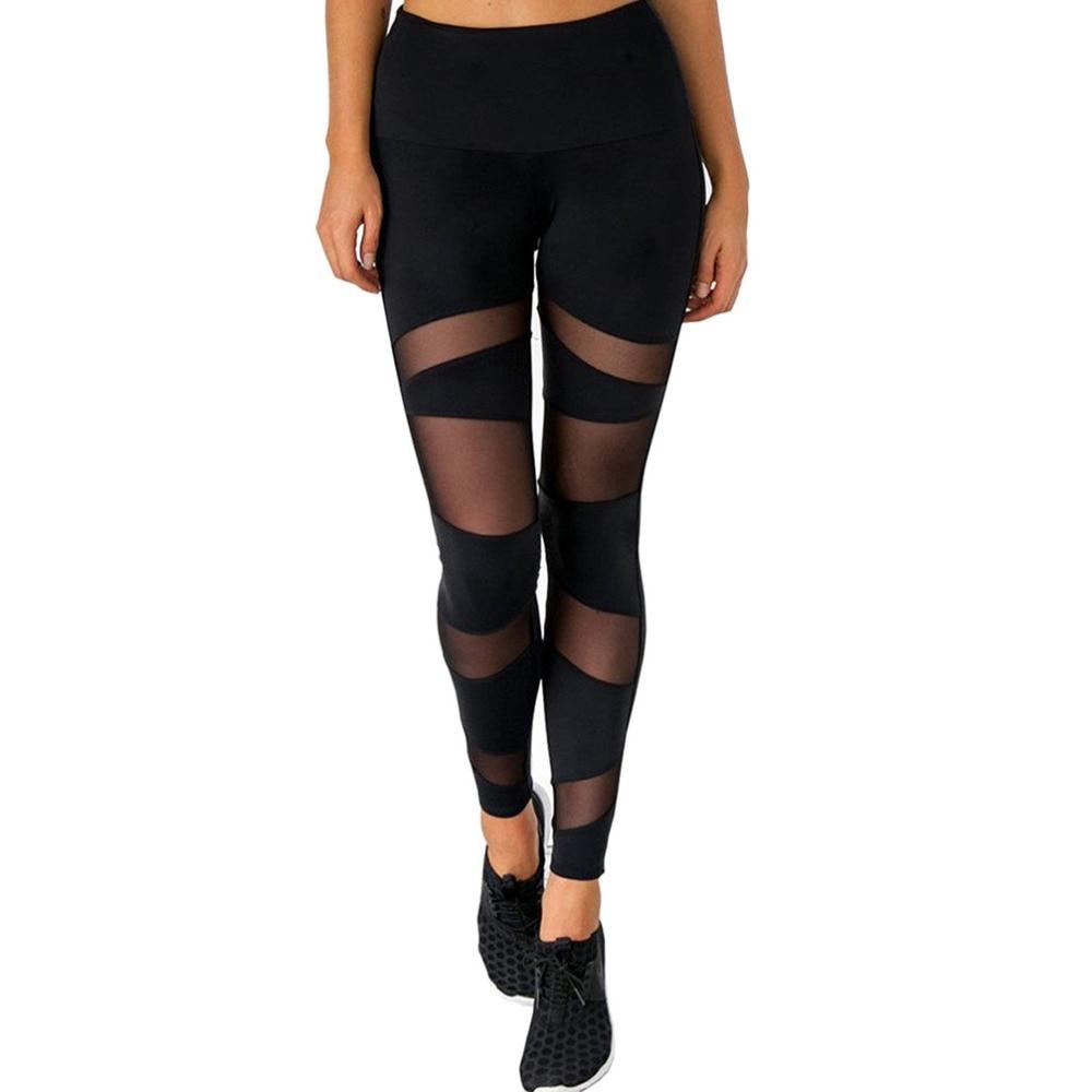 2018 Summer Casual Leggings Women Stretch Workout Pants High Waist Thin Section Perspective Mesh Leggings Women Fitness Leggings