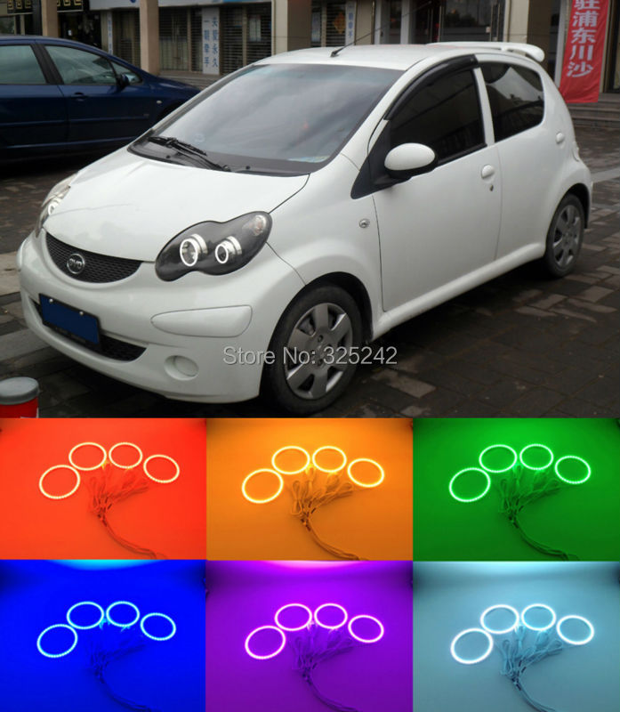 For BYD F0 F1 2008 2009 2010 2011 2012 2013 2014 2015 Excellent Ultra bright RGB Multi-Color LED Angel Eyes Halo Rings kit car rear trunk security shield shade cargo cover for nissan qashqai 2008 2009 2010 2011 2012 2013 black beige