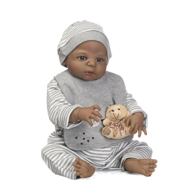 c65569c33 55 cm Full Body Silicone Renascer Boneca Brinquedos Do Bebê Menino Negro 22  polegada Bebês Recém