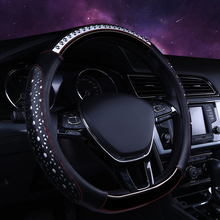KKYSYELVA D Shape Auto Car Steering Wheel Cover Leather 38CM Steering-Wheel covers Interior accessories