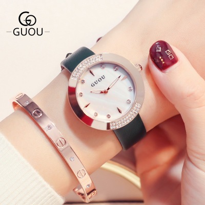 New Top Brand GUOU Women Watches Luxury Rhinestone Ladies Quartz Watch Casual Fashion Leather strap Wristwatch relogio feminino silver diamond women watches luxury brand ladies dress watch fashion casual quartz wristwatch relogio feminino