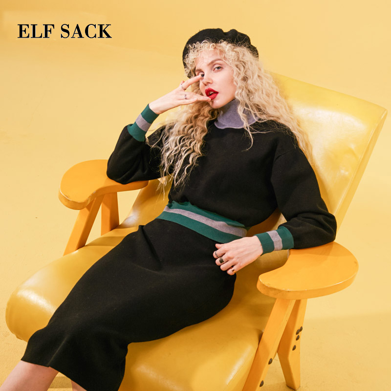 ELF SACK Autumn New Woman 2 piece Set Full Casual Women Pullovers And  Mid Calf Women Skirts Striped O Neck Femme Skinny Set-in Women's Sets from Women's Clothing    1