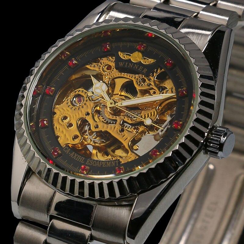 Dress Watches Skeleton Mechanical-Steel Women Feminino Self-Wind Relogio Clock Silver