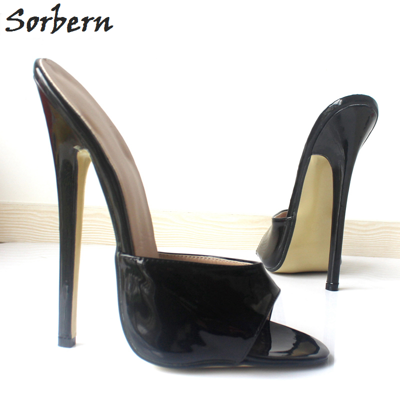 Sorbern Plus Size Women Sandals Peep Toe 18CM Heels Sandals Slippers Patent Leather Custom Made Color Slip On Ladies Party Shoes slippers women genuine leather peep toe slip on mules for women red square heels summer womens shoes plus size kakx01 muyisexi