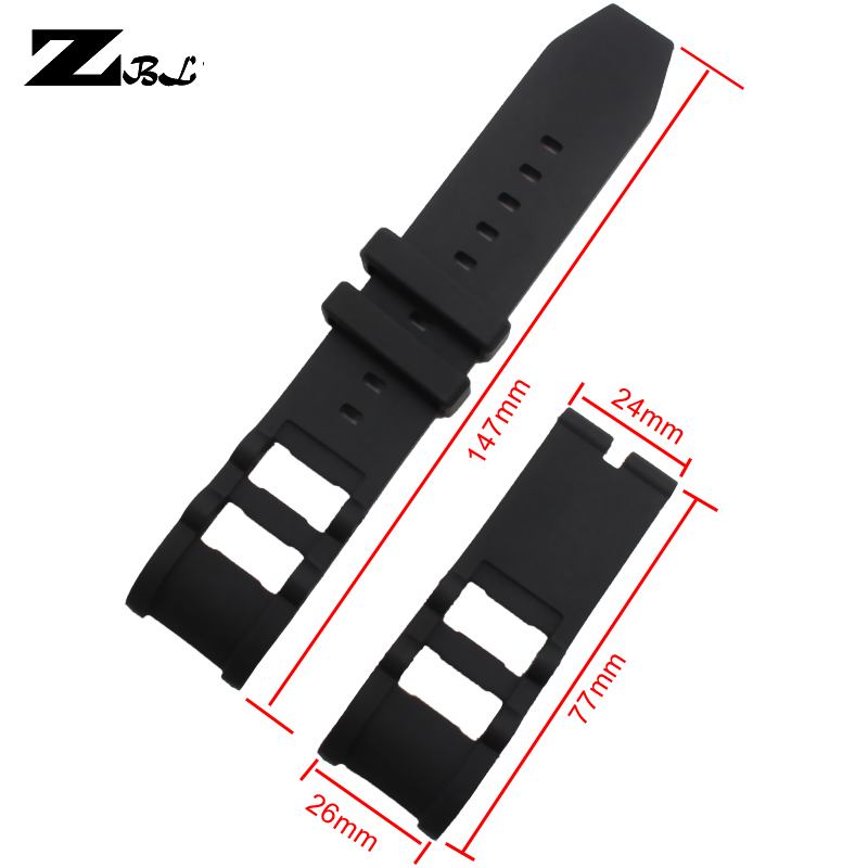 8c2a7b6dadc Correia do relógio de borracha de Silicone 26 24mm para medir buckle strap watch  invicta