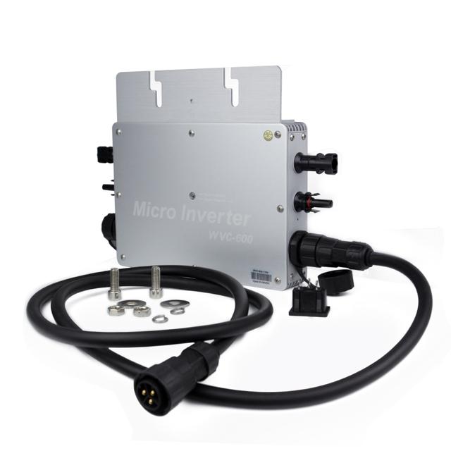 Waterproof 600W Micro Solar Grid Tie Inverter DC 22-50V Wide Input to 80-160VAC or 180-260VAC, 50hz/60hz Auto Match