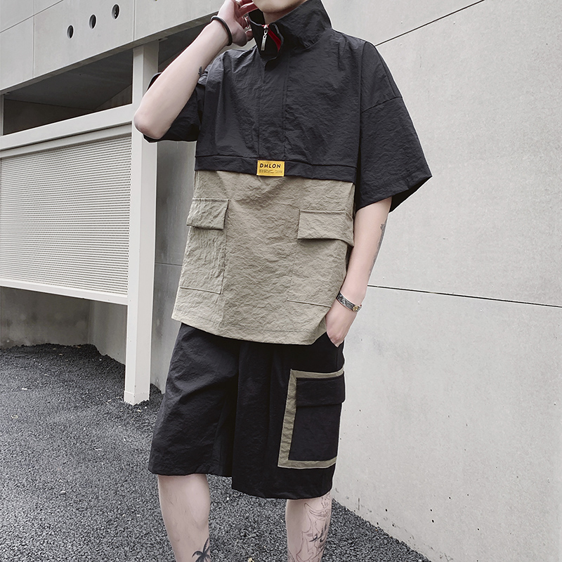 New 2019 Summer Loose-fitting Short-sleeved T-shirt Two-piece Men's Suit