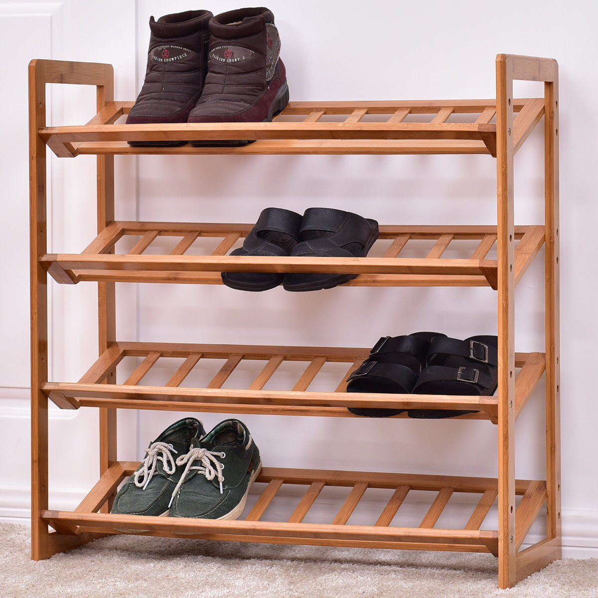 Giantex 4 Tier Bamboo Shoe Rack Modern Entryway Shoe Shelf Holder Storage Organizer Portable Home Furniture HW55407 shoe rack nonwovens steel pipe 4 layers shoe cabinet easy assembled shelf storage organizer stand holder living room furniture