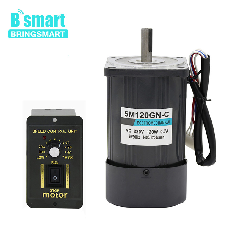 Bringsmart 220V AC 120W Single-phase Adjustable Speed Gear Motor Speed Controller Reversible Speed Regulation Electric Motor