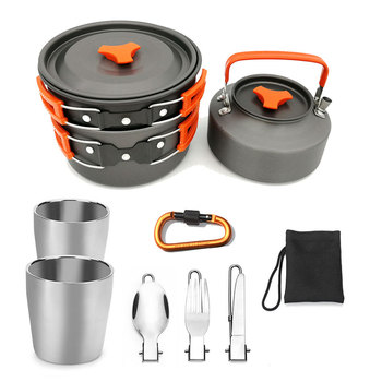 VILEAD Outdoor Camping Non-stick Pan Set Pot Teapot Combination 2-3 Person Set Pot with Teapot Double Water Cup Tableware