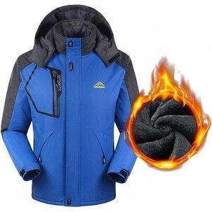 Image 3 - Мужская теплая зимняя парка, пальто больших размеров 6XL, 7X, 8XL, толстая бархатная водонепроницаемая ветрозащитная куртка с капюшоном, мужское флисовое пальто для туризма