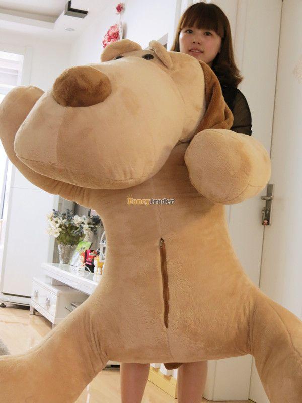 Fancytrader 55'' / 140cm Giant Stuffed Soft Plush Jumbo Huge Lying Animal Dog Toy, Free Shipping FT50823 fancytrader 79 lovely super soft giant stuffed jumbo dolphin plush toy 200cm 2 colors 2 sizes free shipping ft50142