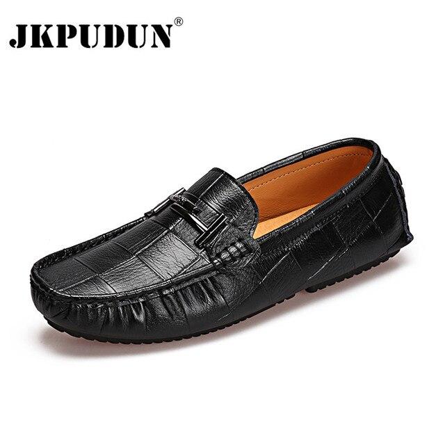 JKPUDUN Sapi Asli Mens Kulit Sepatu 2018 Handmade Lembut Moccasins Pria  Sepatu Kasual Mewah Hitam Slip 87e529e68f