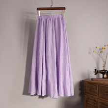 Solid Color Midi Length A Line Linen Skirt Ethnic Casual Ladies Purple