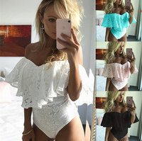 New Summer Chiffon Ruffles Off Shoulder Bodysuits Sleeveless Backless Sexy Ladies Skinny Bodycon Sundress Beach Wear