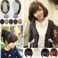 Free shipping New Side Long Synthetic Clip in Fringe Bangs Hair Extensions DARK BLACK BROWM