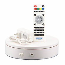 20*5cm Stable Heavy Load Remote Control Electric Turntable Jewelry Display Stand 360 Degree white Color 20-68 Secs Per Circle