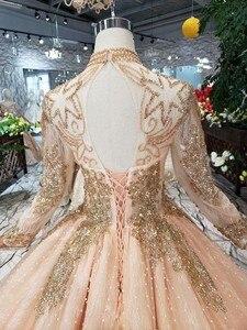 Image 5 - Mangas completas vestidos de baile luxo muçulmano rosa alta pescoço renda miçangas pérola vestido baile 2020 noite formal festa caminhada ao lado de você