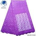 Красивая фиолетовая вышитая кружевная ткань, сетчатая кружевная ткань, ткани для одежды, африканская ткань высокого качества, 5 ярдов/лот ...