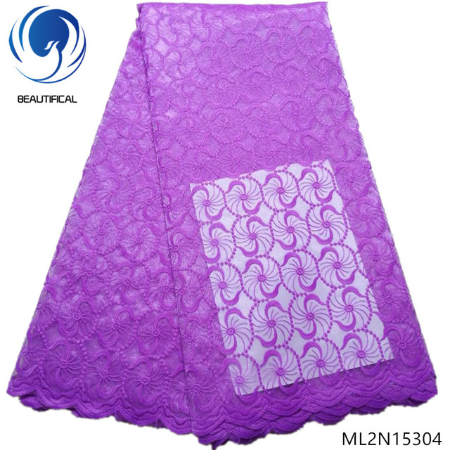BEAUTIFICAL purple embroidered lace fabric net lace fabric fabrics for clothing african fabric high quality 5yards/lot ML2N153