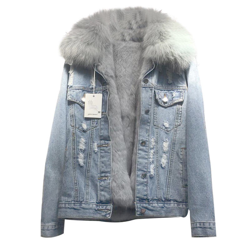 2020 New Loose Winter Women's Denim Real Fur Coat Female Jacket Long Sleeve Detachable Fox Fur Jeans Jacket With Fur Warm Parka image