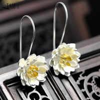 QIAMNI Elegant Yoga Lotus Flower Dangle Drop Hook Earrings for Women Girl Pendientes Christmas Jewelry