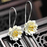 QIAMNI elegante Yoga flor de loto cuelgan Pendientes de gancho de gota para mujeres chica Pendientes joyas de Navidad