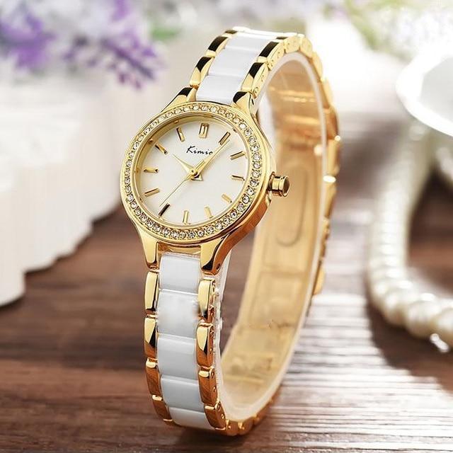 KIMIO Brand Rhinestone Watches Women Imitation Ceramic Strap Bracelet Watch Ladies Dress Quartz Watches Reloj Mujer Montre Gift