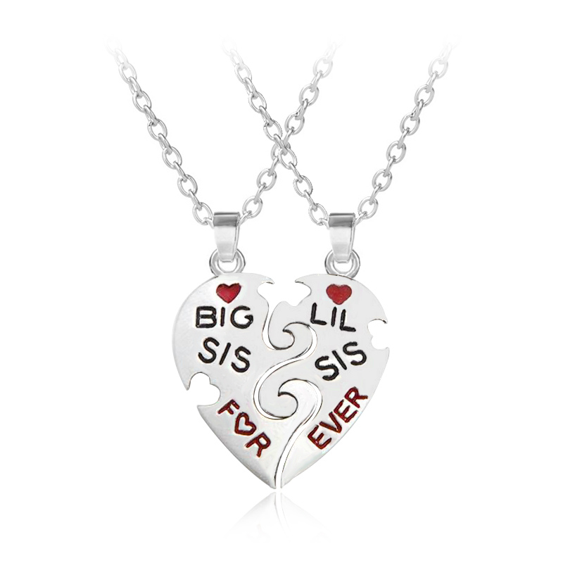 """Chic /""""Big Sis Mid Sis Lil Sis Baby Sis/"""" Sister Necklace Pendant Decor Girls HOT"""