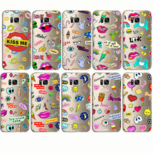 Cartoon phone cases dream sun beach pink lip lipstick love kiss food pattern soft cover for Samsung Note 4 5 8 S8 S9 edge S6 S7 kiss page 5 page 4