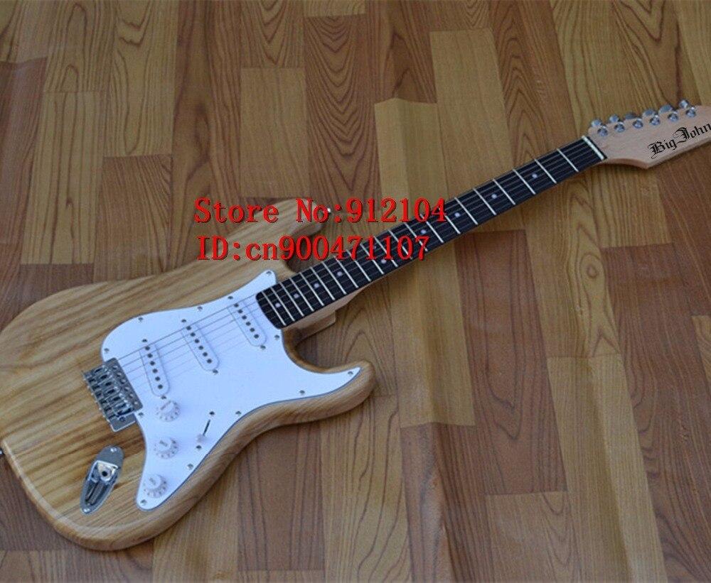 Livraison gratuite nouvelle guitare électrique Big John à onde unique en naturel avec corps en bois de paulownia fortune et F-1041 de ramassage 3 S