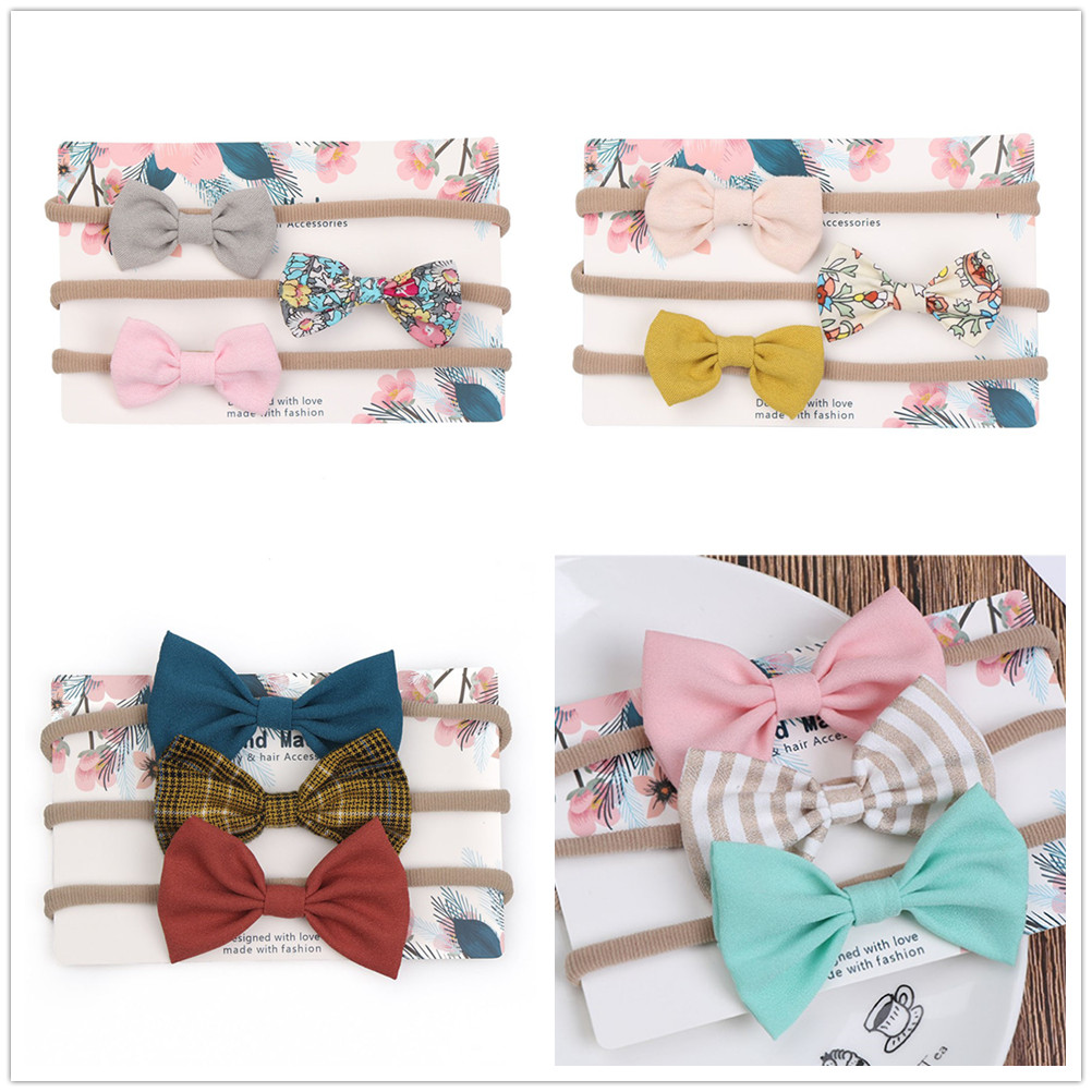 3pcs/set Shiny Fashion Forehead Headband Newborn Baby Elastic Princess Hairbands Child Kids Colorful  Cute Headwear Gifts