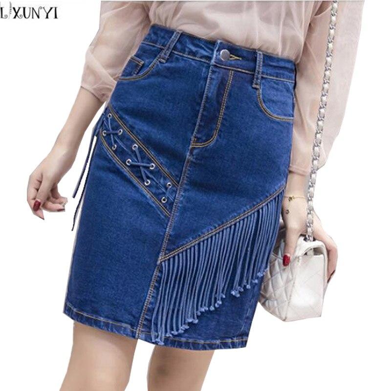 شرابات lxunyi 2018 ربيع صيف جديد المرأة الدينيم تنورة ضوء الجينز الأزرق الحلو الإناث مصغرة تنورة الدانتيل يصل تنورة عالية الخصر
