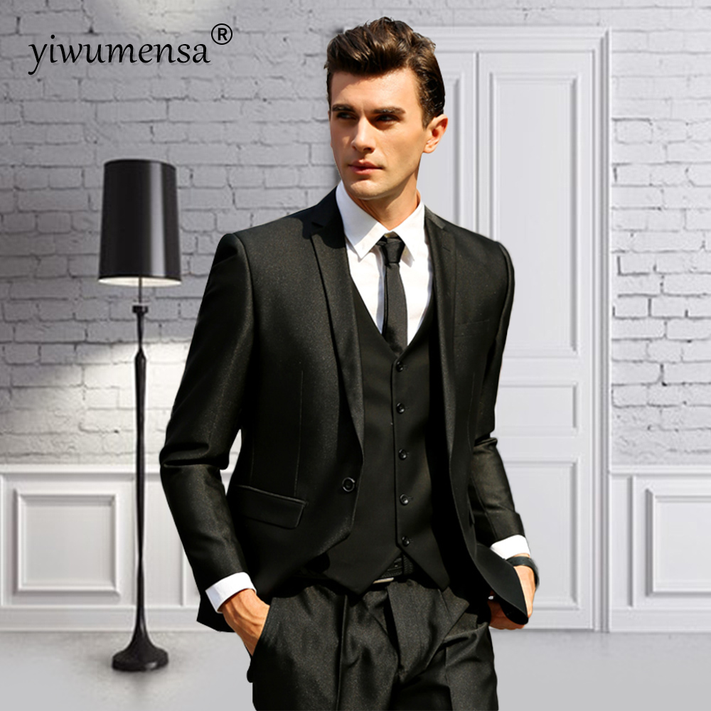 Ywms 343 Mens Tuxedo Wedding Suits For Man England Style Three Pieces Suit Men 2018 Costume Homme Mariage Skinny Jacket Pants In From S Clothing