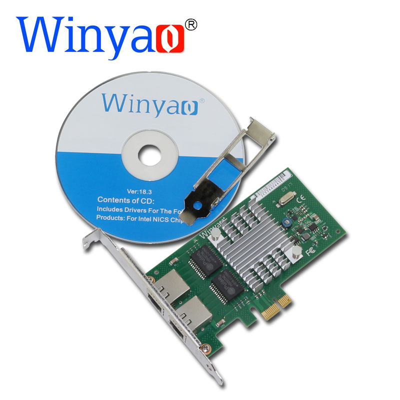 Winyao WYI350T PCI-E X1 RJ45 Server Dual Port Gigabit Ethernet Lan 10/100/1000Mbps Network Interface Card For i350-T2 NIC winyao wyi350t4 pci e x4 rj45 qual port server gigabit ethernet 10 100 1000mbps network interface card for i350 t4 4 port nic