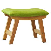 Wooden Stool Small Seat Shoe Bench Chair,Curved Surface Design Upholstered Cotton and Linen Wood Legs Dressing Room/Study Room