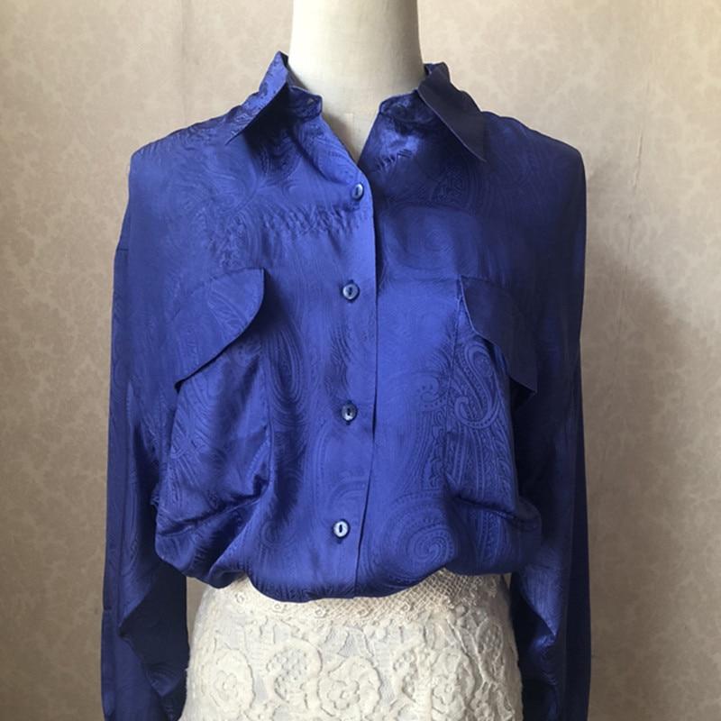 Plus Blusas Tamaño Verde Camisa Suelto orange Trabajo De Seda Larga Oficina Blusa Natural Tops Green Elegante Real Azul 100 blue Manga w7nOx7g