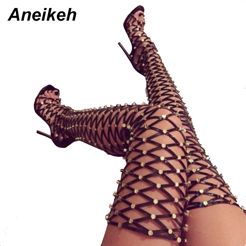 Aneikeh Sexy Rivets Studded Thigh High Sandals Women Summer Gladiator Sandal Boots High Heel Cut Out Over-the-Knee Boots women lady sexy cut out gladiator sandals boots fashion suede thigh high summer boots cross tied hollow out knee high flat boots