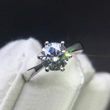 Classic 14K White Gold 1ct 2ct 3ct Moissanite Ring VVS1 Round Cut Lab Diamond Ring Engagement wedding Anniversary For Women цены онлайн