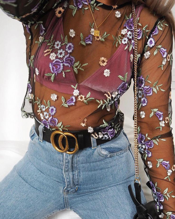 2019 Summer Women Sweet Flower Embroidery Mesh   Blouses   Sexy Transparent See Through   Blouse   Long Sleeve   Shirts   Female Tops Blusas
