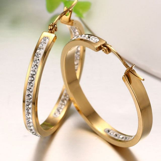 Fashion Female Jewelry 18 k Gold Plated Hoop Earrings For Women 316L Stainless Steel Simple Rock AAA Zircon Earrings