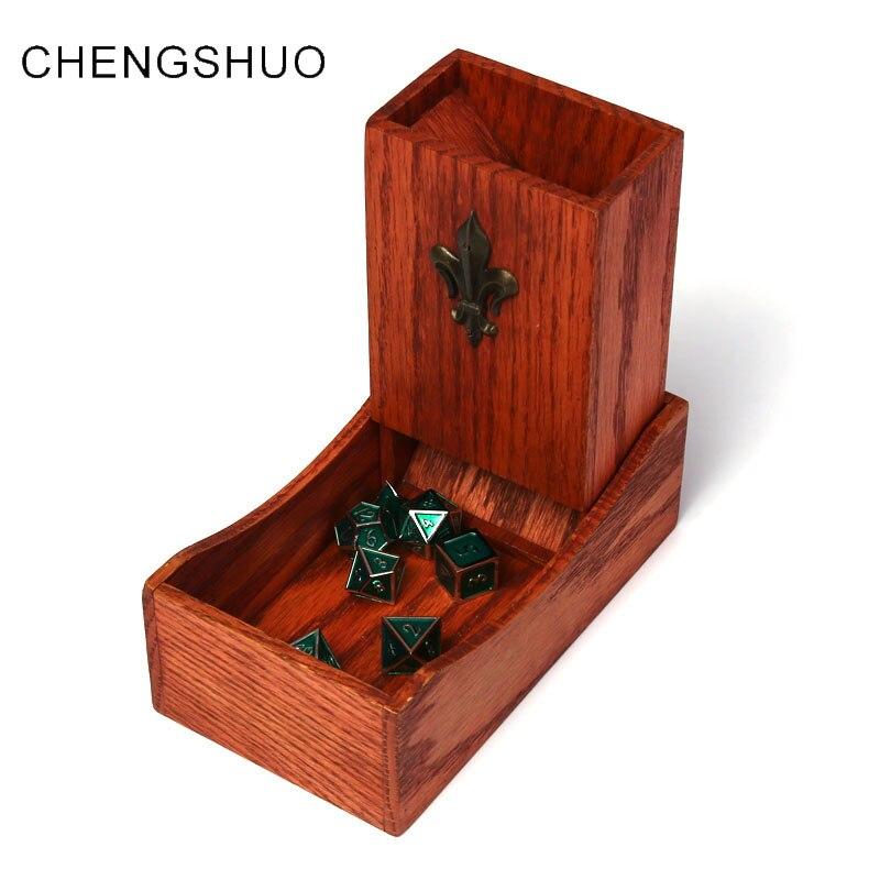 Chengshuo torre dados dnd dice dice rpg dobra bandeja de Armazenamento de Carvalho de madeira Ímã adsorção 17cm para masmorras e dragões jogos de mesa