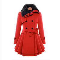 European and American Women's Elegant Slim Double breasted Coat Long Sections Thick Woolen Coat Winter AH 8