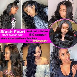 Image 5 - Black Pearl Brazilian Hair Weave Bundles Body Wave Bundles With Closure Brazillian Non Remy Human Hair 3 4 Bundles With Closure
