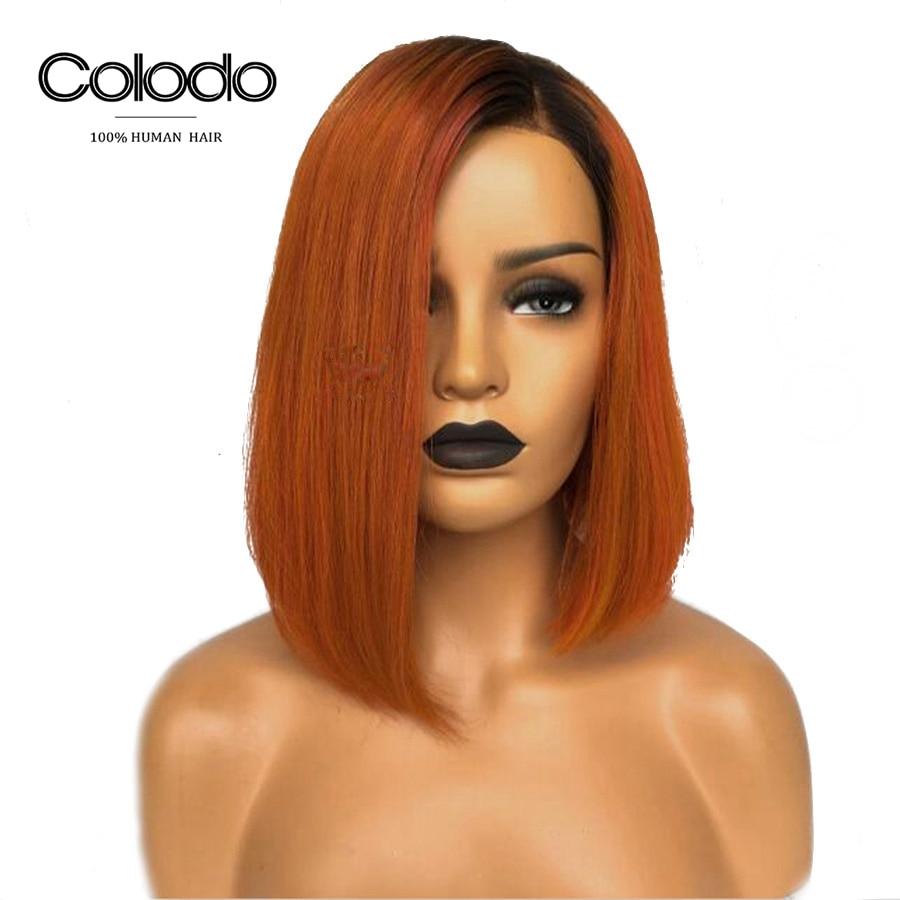 COLODO Short Bob Lace Front Wigs Ombre Orange Wig Purple Grey Natural Color Brazilian Colored Straight Human Hair Wigs For Women